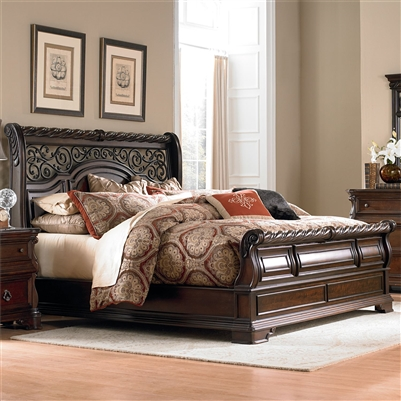 Arbor Place Sleigh Bed in Brownstone Finish by Liberty Furniture - 575-BR-QSL