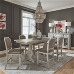 Low Country Gathering Counter Height Table 7 Piece Dining Set in Sea Oat White Finish by Liberty Furniture - 585-DR-7GTS