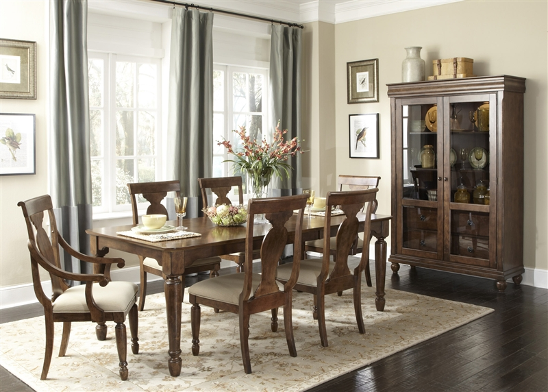 Rustic Tradition Rectangular Leg Table 7 Piece Dining Set In Rustic Cherry  Finish By Liberty Furniture   589 T4284
