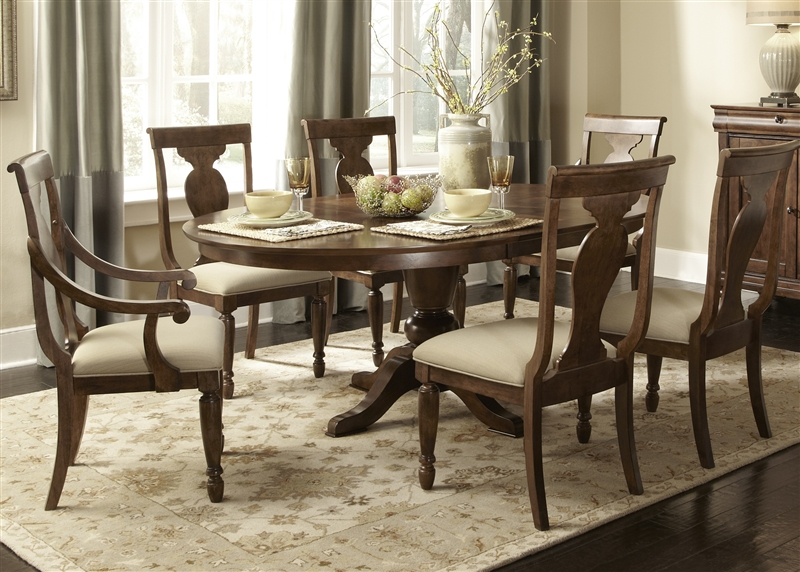 rustic tradition oval pedestal table 5 piece dining set in rustic cherry finish by liberty. Black Bedroom Furniture Sets. Home Design Ideas