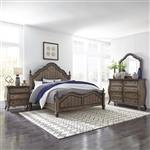 Parisian Marketplace Poster Bed 6 Piece Bedroom Set in Heathered Brownstone Finish by Liberty Furniture - 598-BR-QPSDMN