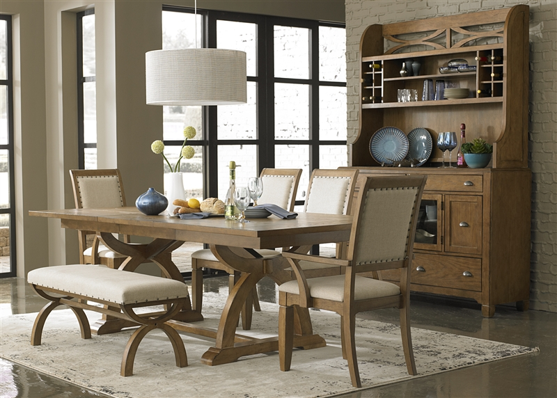 & Country Trestle Table 6 Piece Dining Set in Sandstone Finish by ...