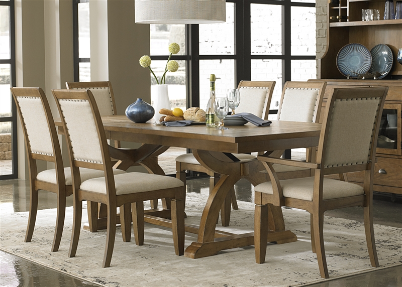 Town Country Trestle Table 6 Piece Dining Set In Sandstone Finish By Liberty Furniture Lib 603 P4296