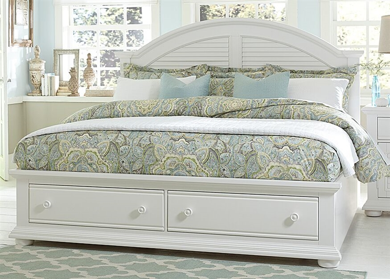 Summer House Storage Bed in Oyster White Finish by Liberty