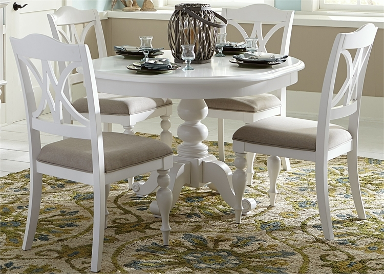 Summer House Round Pedestal Table 5 Piece Dining Set In Oyster White Finish By Liberty Furniture