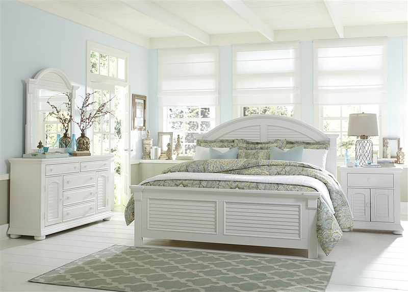 House Panel Bed 6 Piece Bedroom Set in Oyster White Finish by ...