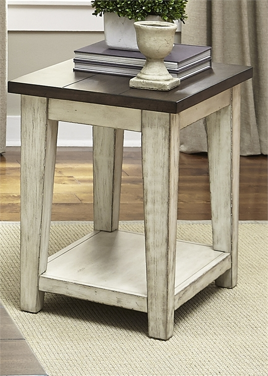 Antique White Side Table #5 - Lancaster Entertainment Center In Antique White W Rub Thru And Antique  Brown Finish By Liberty Furniture - 612-ENTW-ECP
