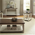 Lancaster Cocktail Table in Antique White w Rub Thru and Antique Brown Finish by Liberty Furniture - 612-OT1010