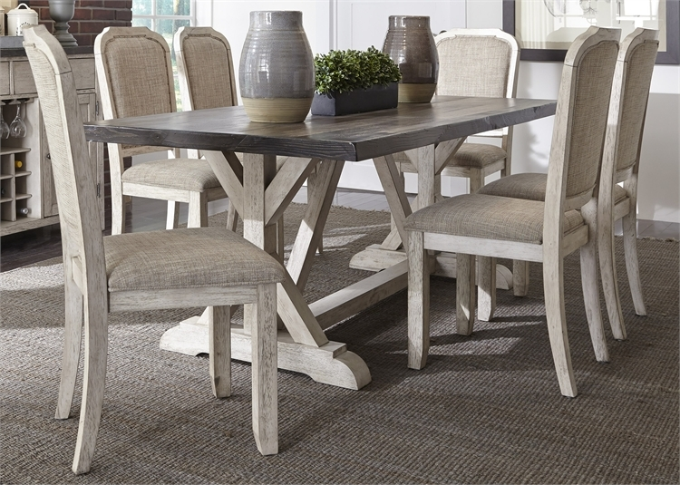 Willowrun Trestle Table 7 Piece Dining Set In Rustic White And Weathered  Gray Top Finish By ...