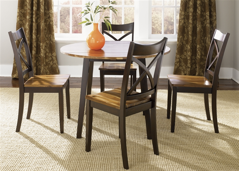 Cafe Collections Drop Leaf Table 3 Piece Dining Set In Two Tone Acacia U0026  Merlot Finish ...