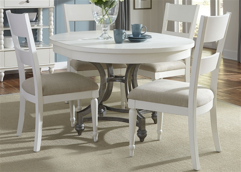 Groovy Harbor View Round Table 5 Piece Dining Set In Linen Finish By Liberty Furniture 631 Dr 5Ros Caraccident5 Cool Chair Designs And Ideas Caraccident5Info