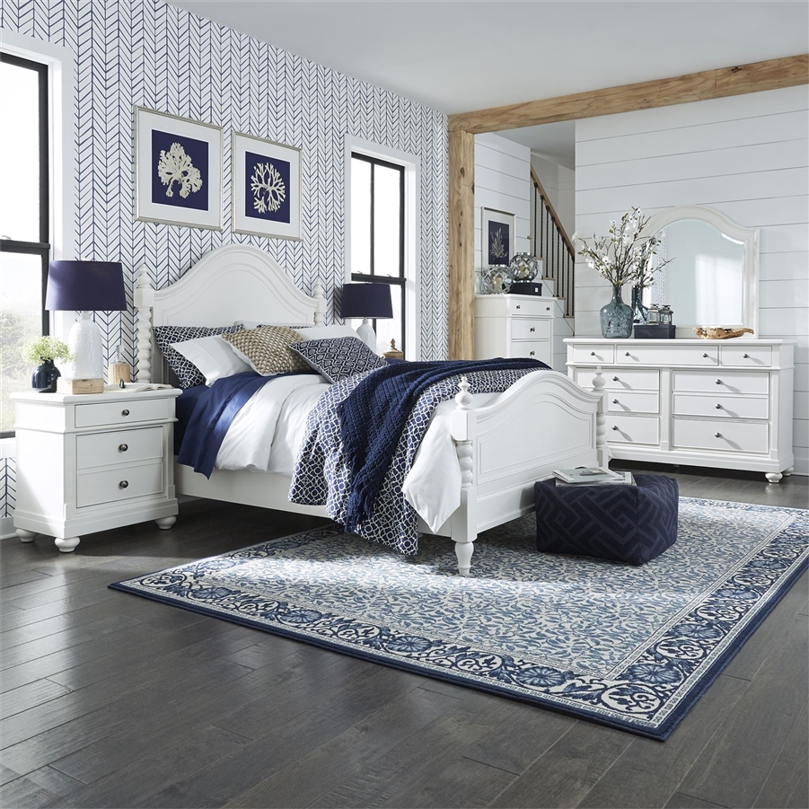 Harbor View Poster Bed 6 Piece Bedroom Set in White Linen Finish ...