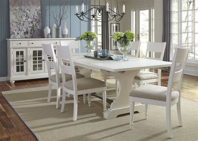 Harbor View Trestle Table 5 Piece Dining Set In Linen Finish By Liberty Furniture 631 T4294