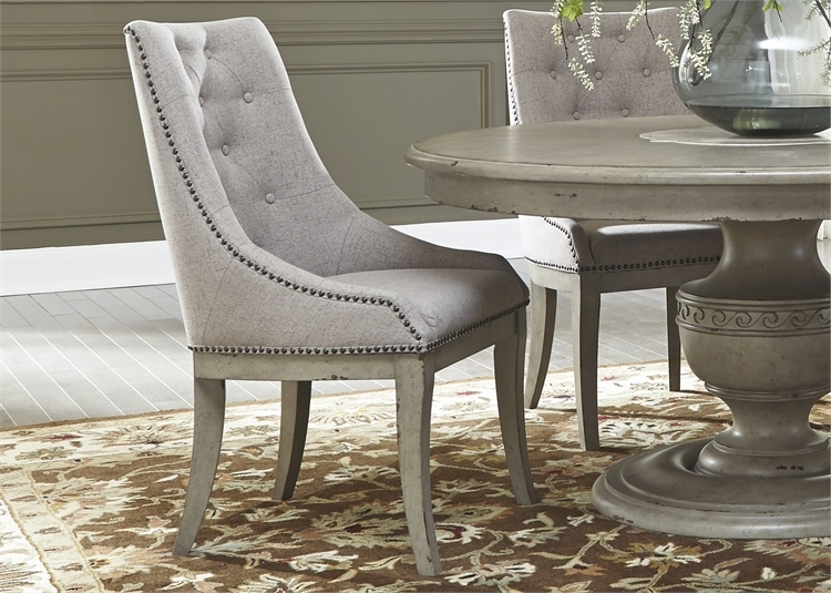 Grand Estates Pedestal Table 5 Piece Dining Set In Gray Taupe Finish By  Liberty Furniture   634 DR O5PDS