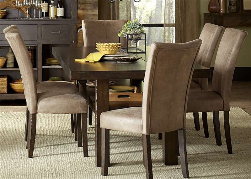 Moreno Valley Trestle Table 5 Piece Dining Set In Cobble Brown Finish By  Liberty Furniture   639 DR 5TRS