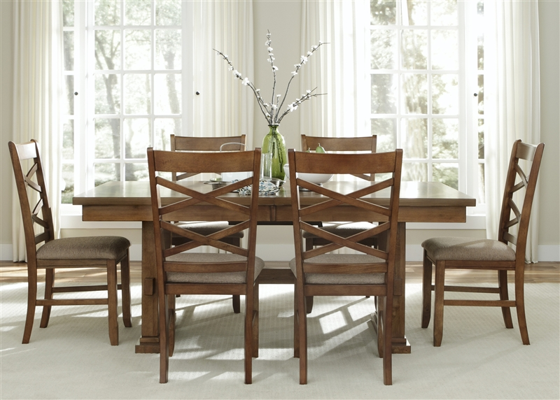 Bistro Trestle Table 5 Piece Dining Set In Honey Finish By Liberty Furniture 64 P4090