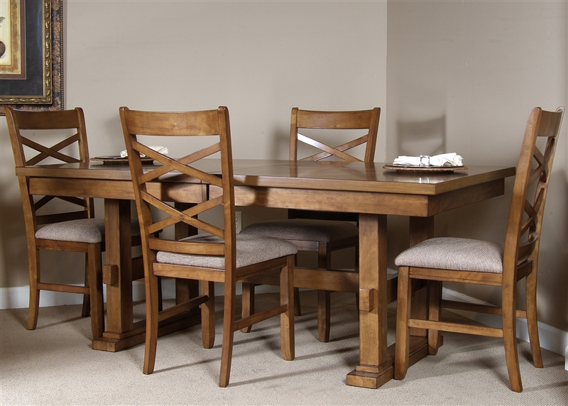 Trestle Dining Table Set Part - 47: Bistro Trestle Table 5 Piece Dining Set In Honey Finish By Liberty Furniture  - 64-P4090