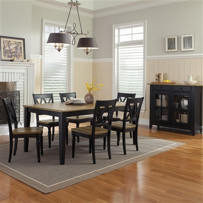 Al Fresco Rectangular Leg Table X Back Chairs 7 Piece Dining Set in Driftwood & Black Finish by Liberty Furniture - 641-07