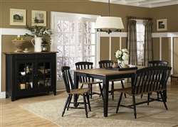 Al Fresco Rectangular Leg Table 6 Piece Dining Set in Driftwood & Black Finish by Liberty Furniture - 641-CD-6RTS
