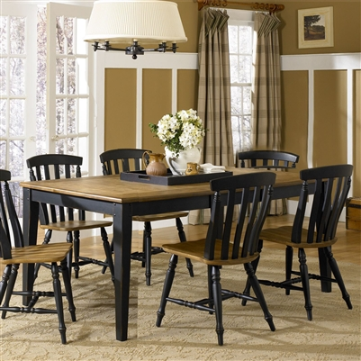 Al Fresco Rectangular Leg Table 7 Piece Dining Set in Driftwood & Black Finish by Liberty Furniture - 641-CD-7