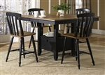 Al Fresco Gathering Table 5 Piece Counter Height Dining Set in Driftwood & Black Finish by Liberty Furniture - 641-GT5454