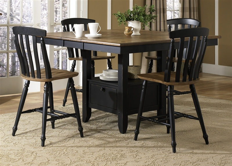 fresco gathering table piece counter height dining set driftwood black finish liberty furniture round with storage white he