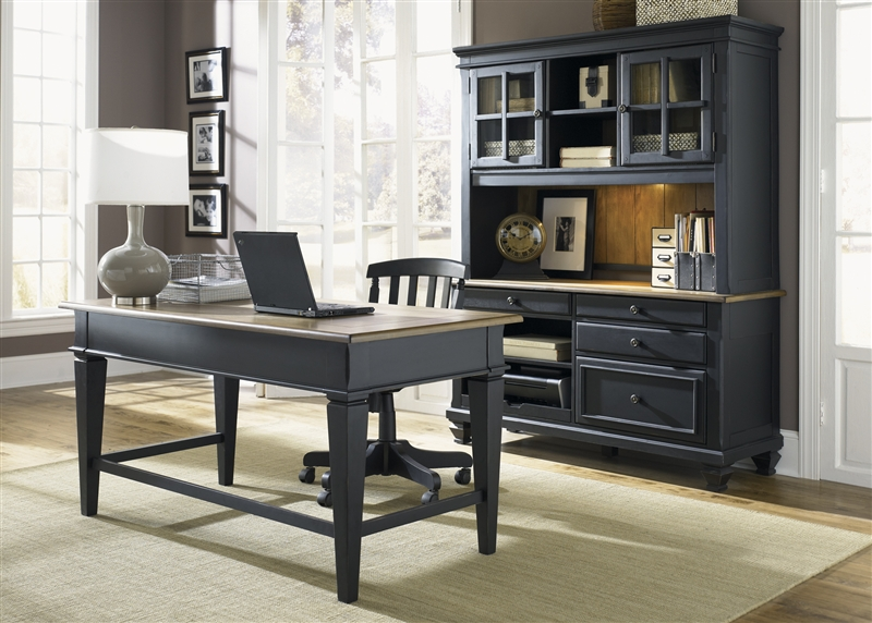 Charmant Bungalow II Jr Executive 3 Piece Home Office Set In Driftwood U0026 Black  Finish By Liberty ...