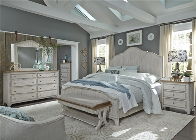 Farmhouse Reimagined Panel Bed 6 Piece Bedroom Set in Antique White Finish with Chestnut Tops by Liberty Furniture - 652-BR-QPBDMN