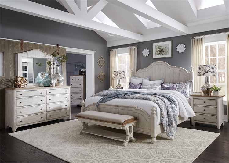 Farmhouse Reimagined Poster Bed 6 Piece Bedroom Set in Antique White Finish  with Chestnut Tops by Liberty Furniture - 652-BR-QPSDMN
