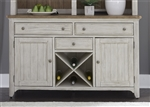 Farmhouse Reimagined Buffet in Antique White Finish with Chestnut Tops by Liberty Furniture - 652-CB6036