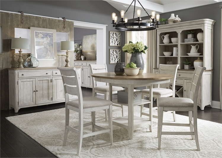 Farmhouse Reimagined 5 Piece Gathering Counter Height Table Set In Antique White Finish With Chestnut Tops