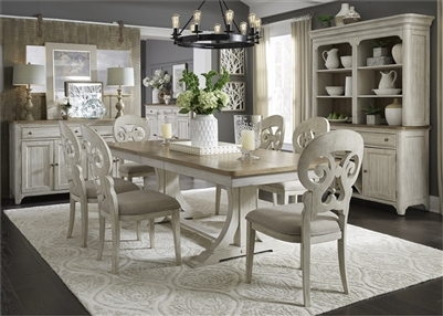 Farmhouse Reimagined 5 Piece Trestle Table Set in Antique White Finish with Chestnut Tops by Liberty Furniture - 652-DR-5TRS
