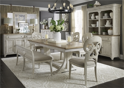 Farmhouse Reimagined 6 Piece Trestle Table Set in Antique White Finish with Chestnut Tops by Liberty Furniture - 652-DR-6TRS