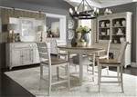 Farmhouse Reimagined 5 Piece Gathering Counter Height Table Set in Antique White Finish with Chestnut Tops by Liberty Furniture - 652-DR-O5GTS