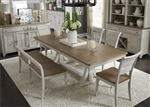 Farmhouse Reimagined 5 Piece Trestle Table Set in Antique White Finish with Chestnut Tops by Liberty Furniture - 652-DR-TRS