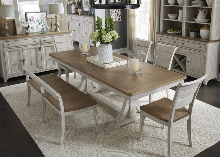 Farmhouse Reimagined 5 Piece Trestle Table Set In Antique White Finish With  Chestnut Tops By Liberty Furniture ...