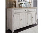 Farmhouse Reimagined Hall Buffet in Antique White Finish with Chestnut Tops by Liberty Furniture - 652-HB7644