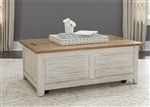 Farmhouse Reimagined Storage Trunk Cocktail Table in Antique White Finish with Chestnut Tops by Liberty Furniture - 652-OT1011
