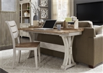 Farmhouse Reimagined Desk / Flip Lid Sofa Table in Antique White Finish with Chestnut Tops by Liberty Furniture - 652-OT1031
