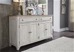 Farmhouse Reimagined Server in Antique White Finish with Chestnut Tops by Liberty Furniture - 652-SR6838