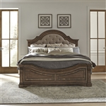 Haven Hall Panel Upholstered Bed in Aged Chestnut Finish by Liberty Furniture - 685-BR-OQPB