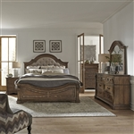 Haven Hall Panel Upholstered Bed 6 Piece Bedroom Set in Aged Chestnut Finish by Liberty Furniture - 685-BR-OQPBDMN