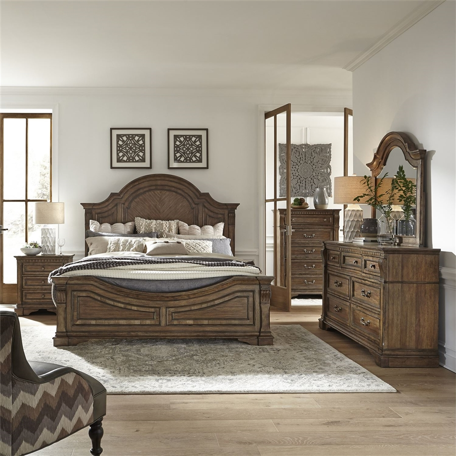 Haven Hall Panel Bed 6 Piece Bedroom Set In Aged Chestnut Finish By Liberty Furniture 685 Br Qpbdmn