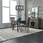 Tanners Creek Drop Leaf Table Slat Back Chair 3 Piece Dining Set in Greystone Finish by Liberty Furniture - LIB-686-CD-3DLS