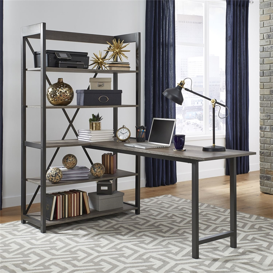 Tanners Creek Desk and Bookcase Set in Greystone Finish by Liberty  Furniture - 31-HO-DSK