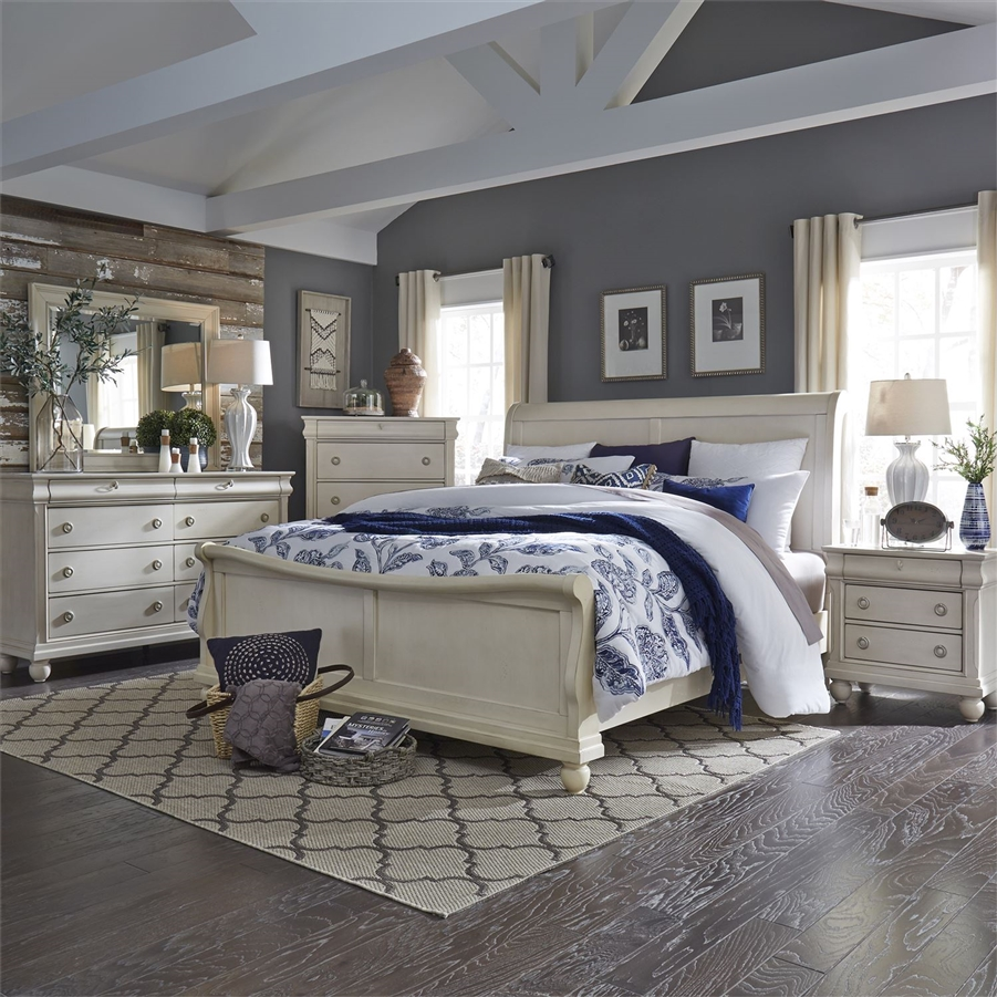 Rustic Traditions II Sleigh Bed 6 Piece Bedroom Set In Rustic White Finish  By Liberty Furniture ...