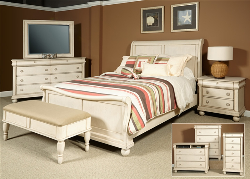 Rustic Traditions Ii Sleigh Bed 6 Piece Bedroom Set In Rustic White Finish By Liberty Furniture 689 Br