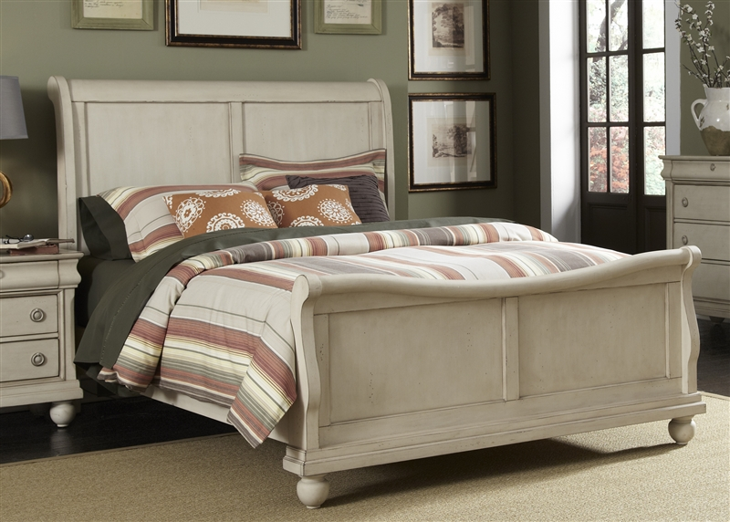 White Rustic Bedroom Furniture rustic traditions ii sleigh bed in rustic white finishliberty