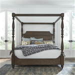 Homestead Canopy Bed in Burnished Sage Finish with Gray Cerused Accents by Liberty Furniture - 693-BR-QCB
