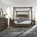 Homestead Canopy Bed 6 Piece Bedroom Set in Burnished Sage Finish with Gray Cerused Accents by Liberty Furniture - 693-BR-QCBDMN